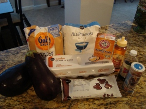 Ingredients for Eggplant Chocolate Chip Muffins