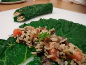 Kale Rolls with brown rice