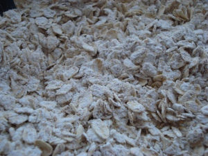 Rolled oats coated with all-purpose and whole wheat flour and baking soda