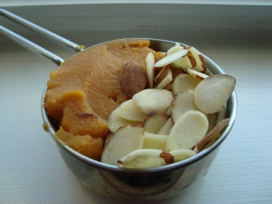Pumpkin puree and sliced almonds